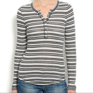 LUCKY BRAND striped thermal longsleeve top